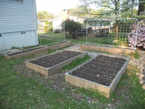 Image: Raised-Bed Garden With Conduit Pipe Trellises
